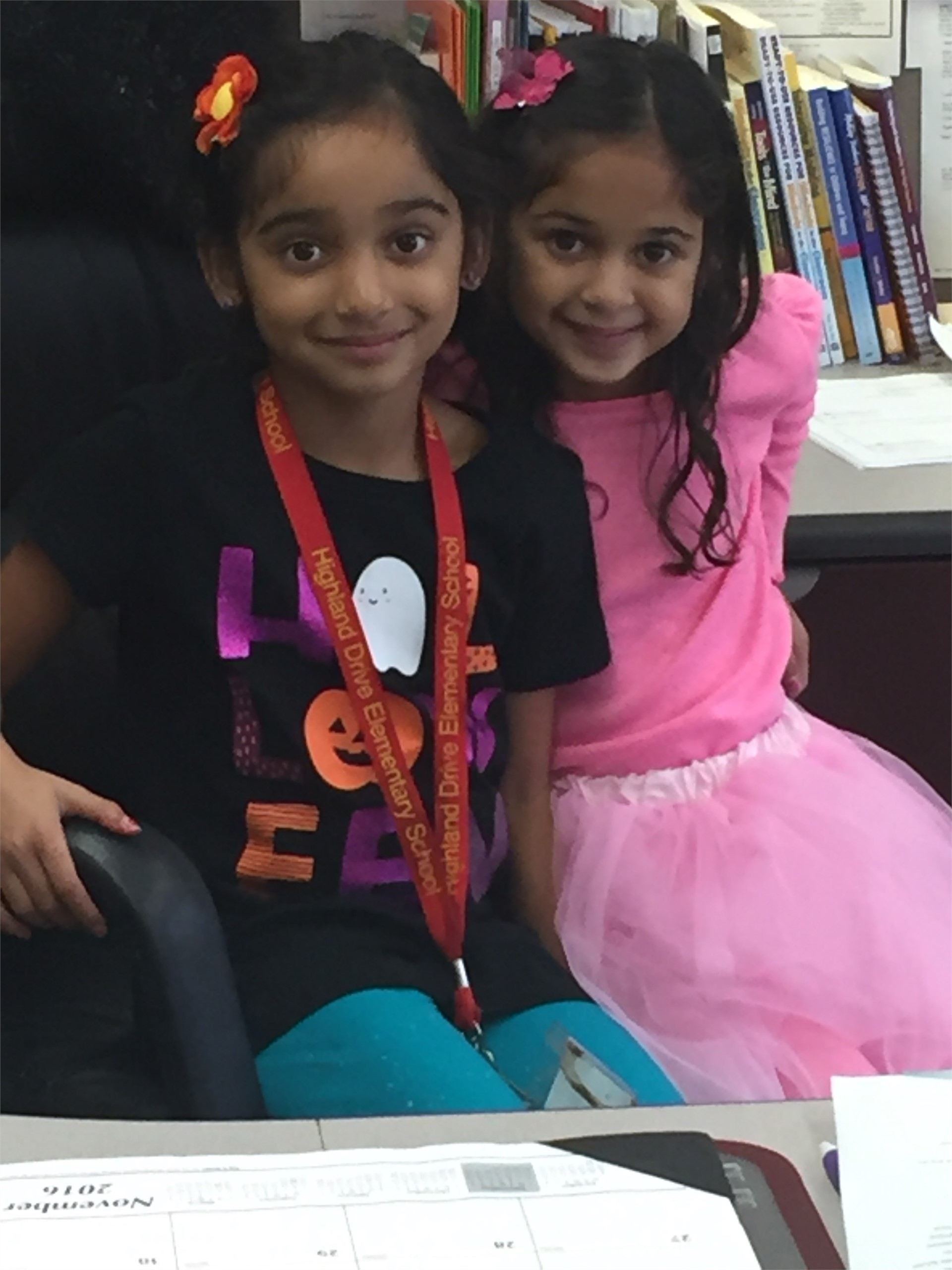 Amiya and Arya B. Sister Principals for the day.