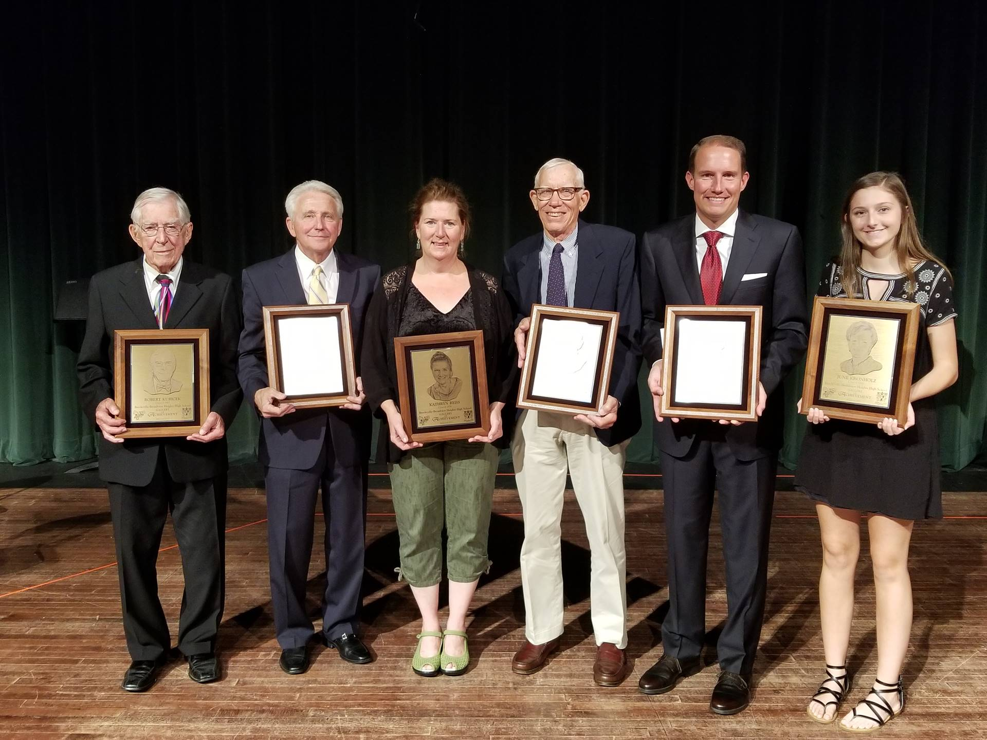 Gallery of Achievement Winners L to R: Robert Kubicek, James Harbuck, Kathryn Reiss, Herman Botzow,