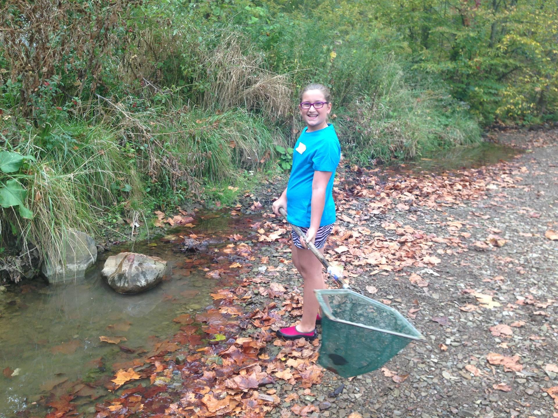Metroparks netting stream critters