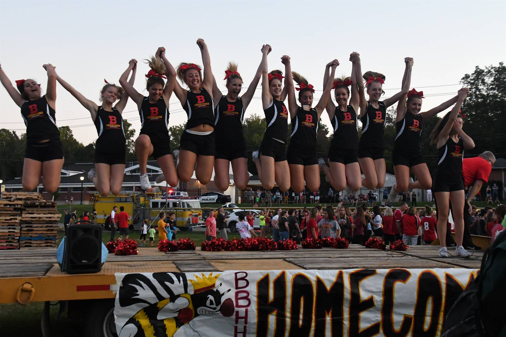 Cheerleaders at Homecoming Bonfire