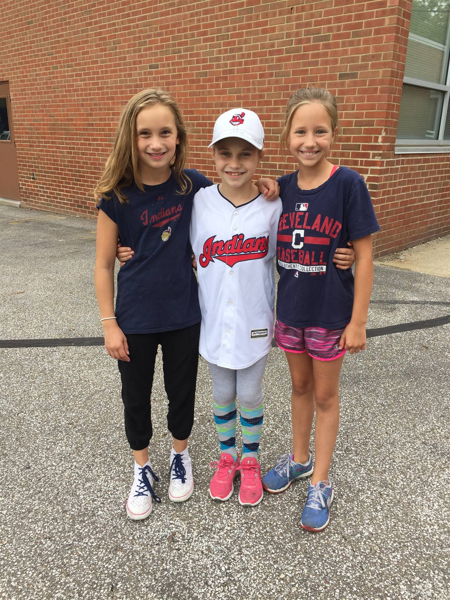 Girls wearing Indians shirts