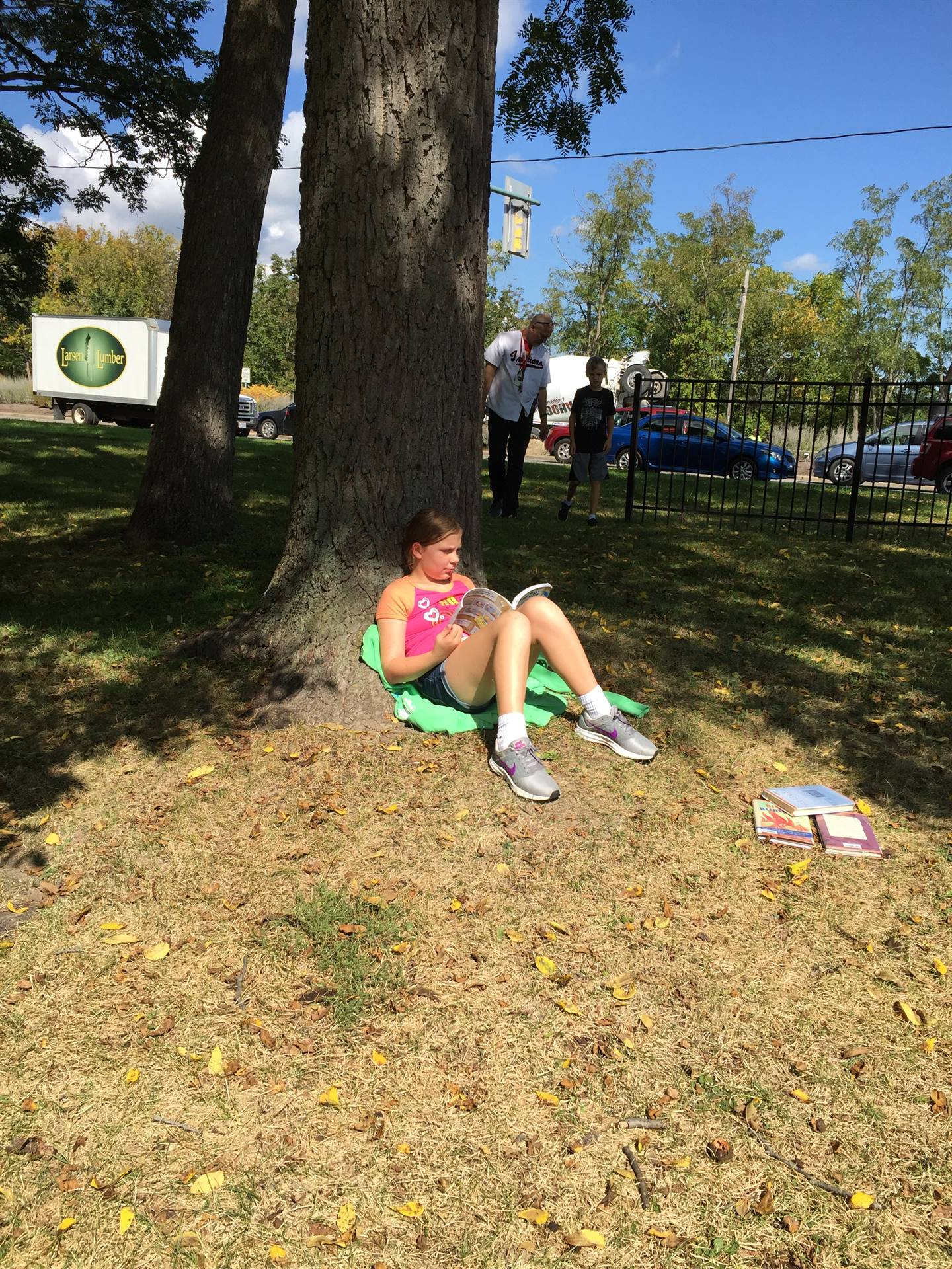Relaxing with a book at recess