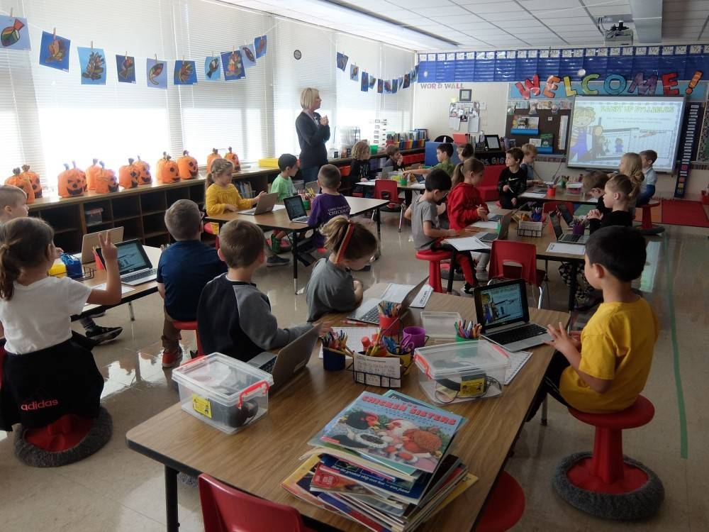 Kinders using Google Classroom 1