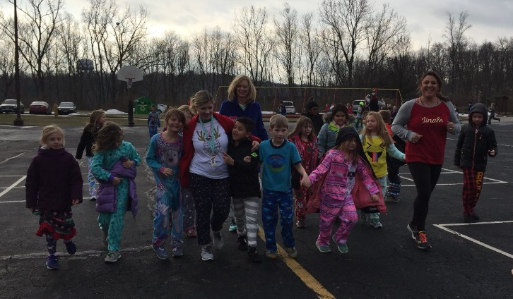 Jingle Bell Jog Miss Knodel, Mrs. Pagel and Mrs. Dubacek and students