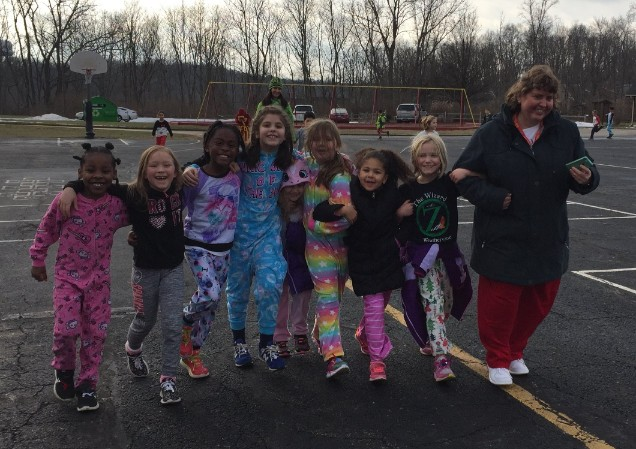 Jingle Bell Jog Miss Kerzman and students