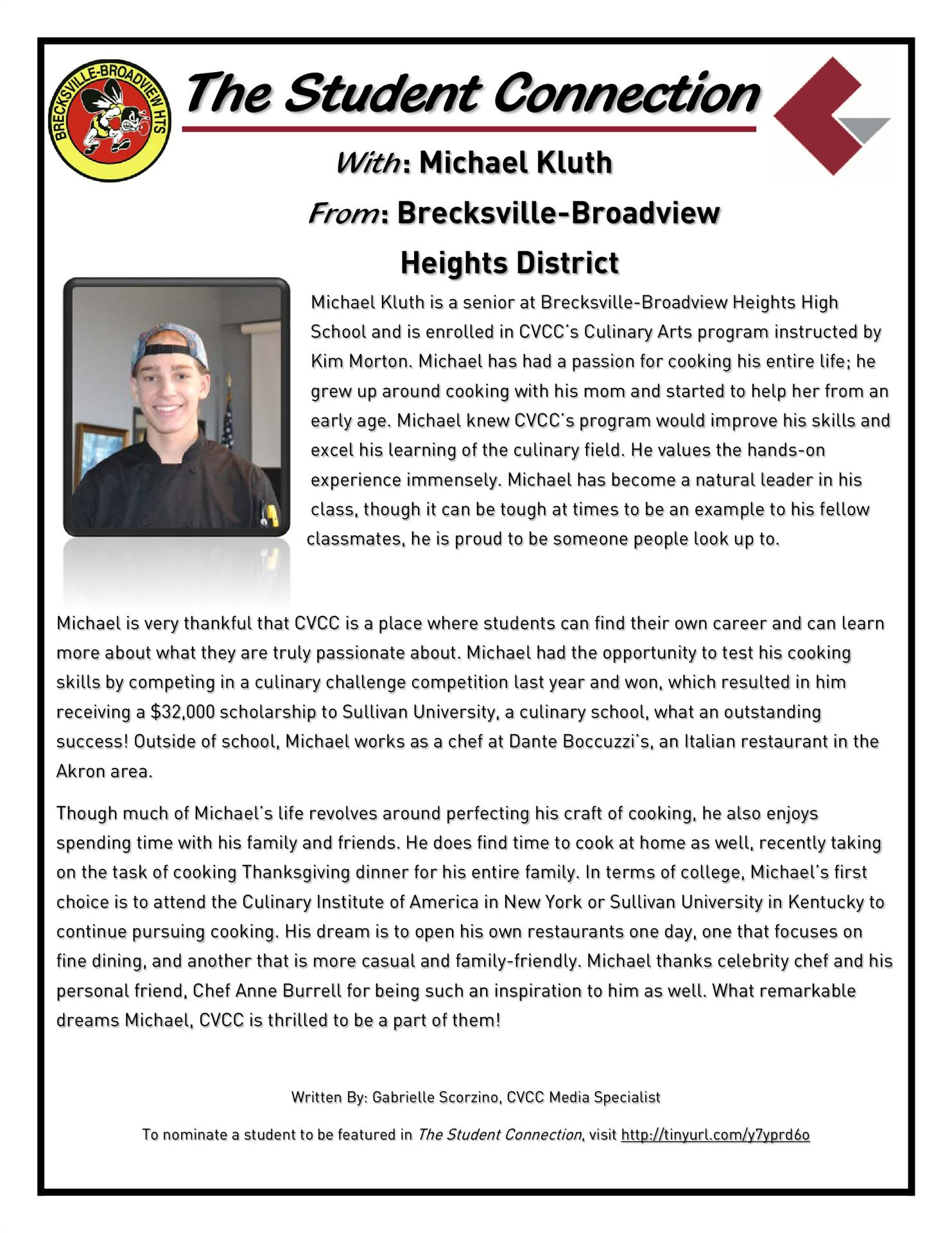 Michael Kluth named CVCC Student Connection