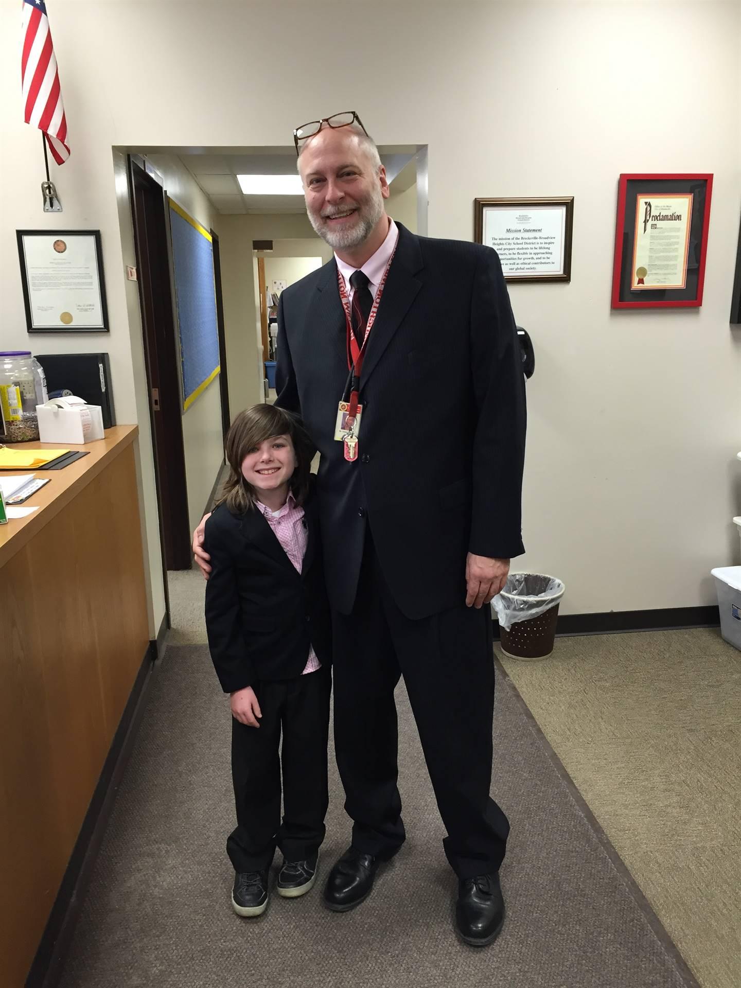 Mr. Hartland and student