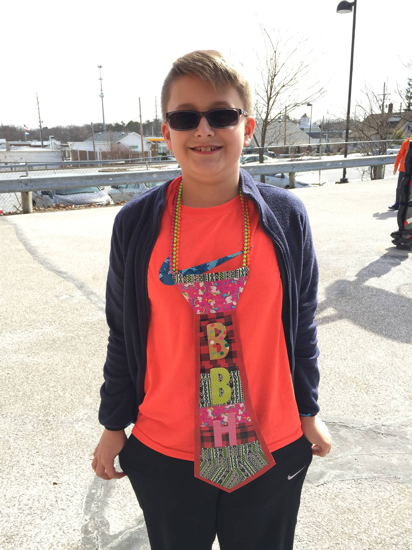Student Celebrating Ugly Tie Day for Spirit Week