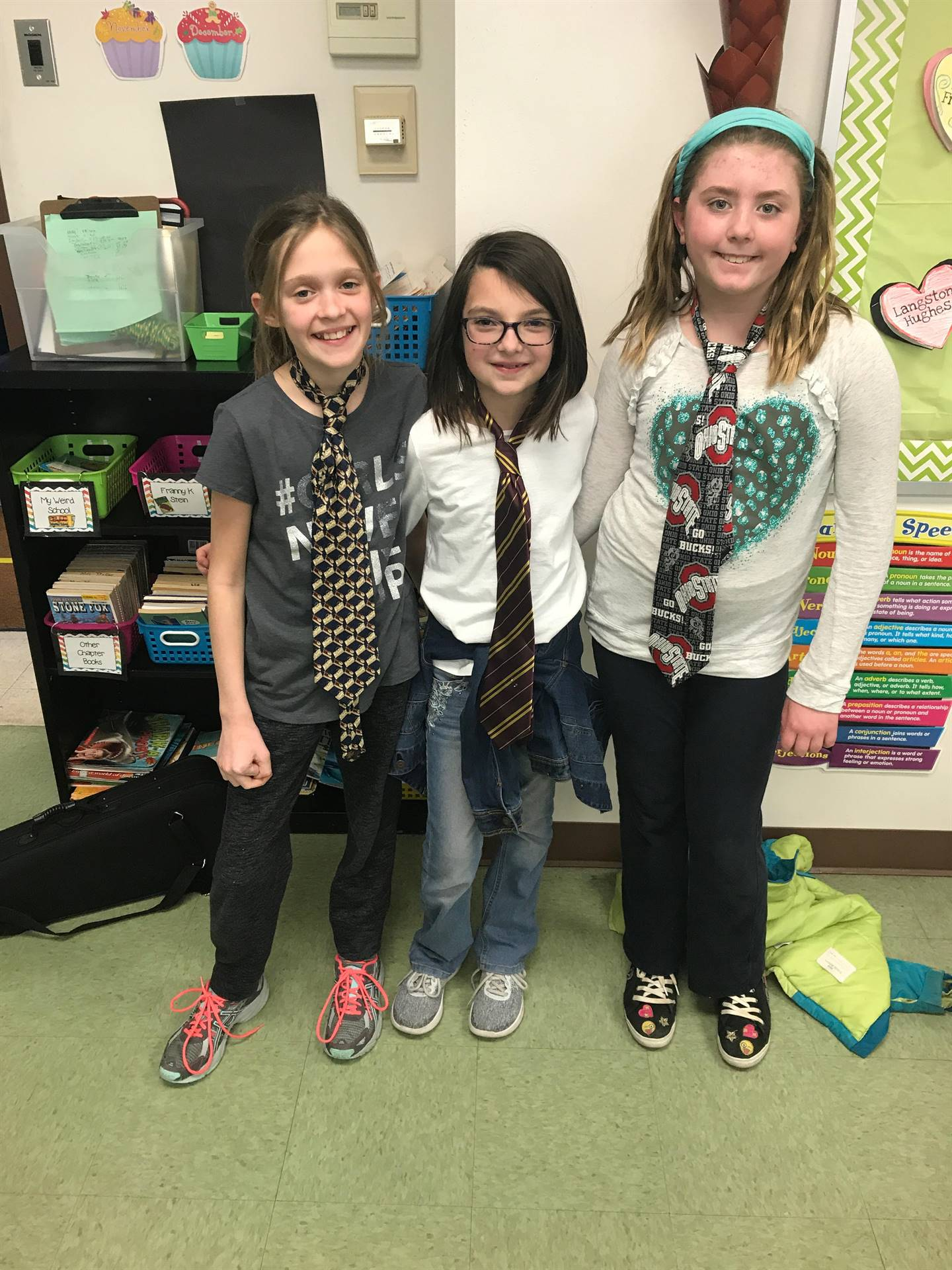 Girls Celebrating Ugly Tie Day for Spirit Week