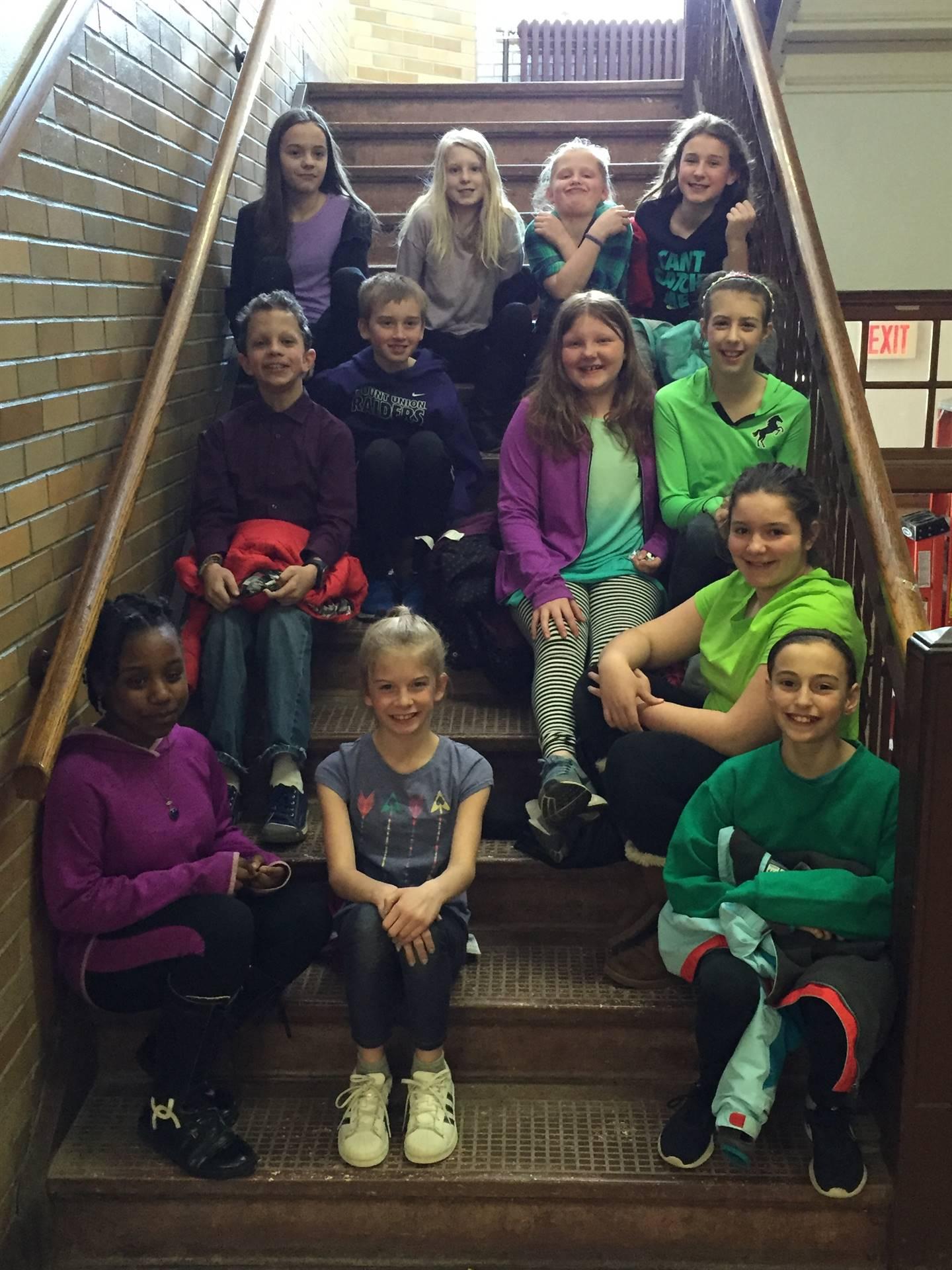 Spirit week- students on stairs