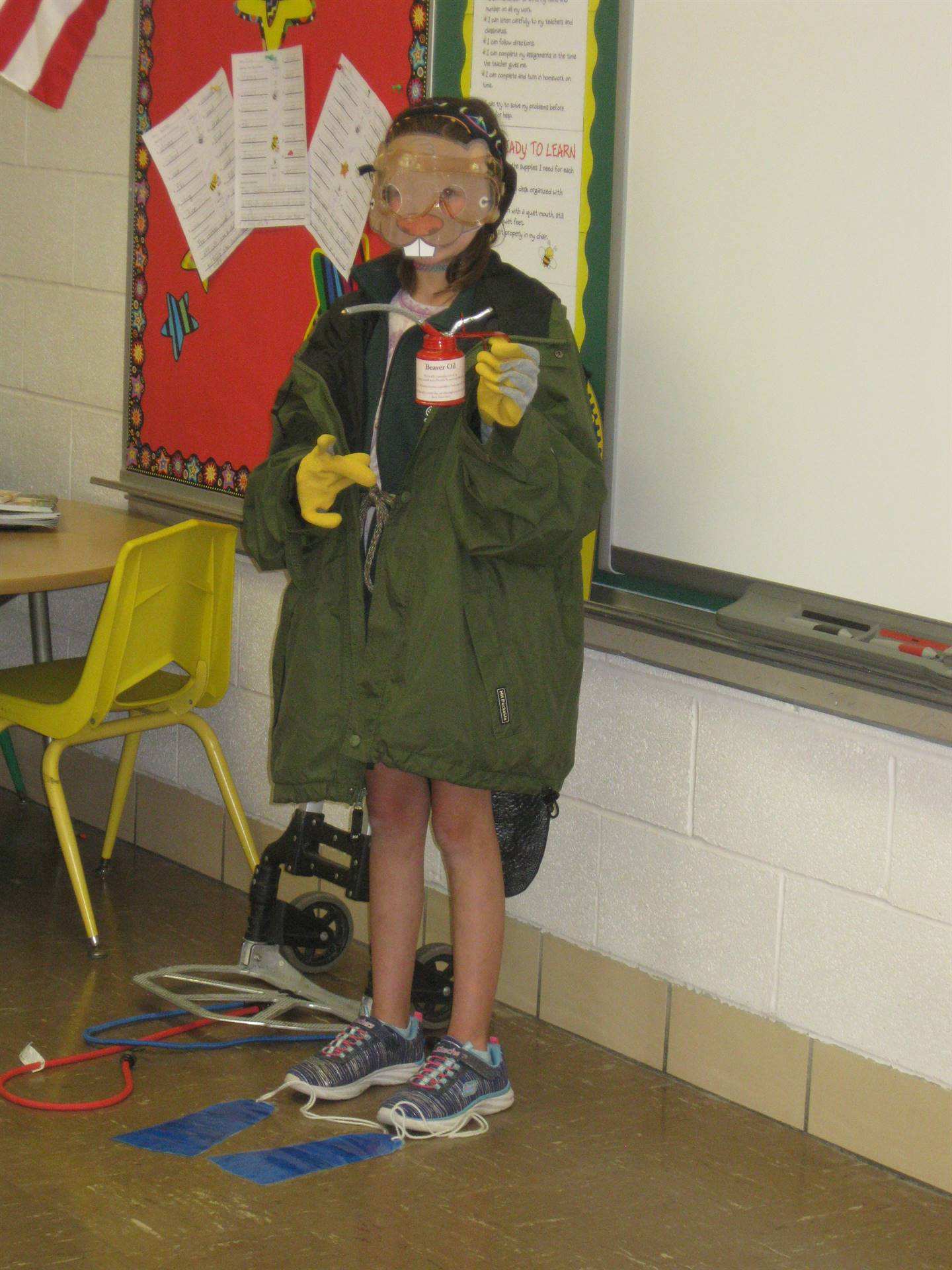 Student dressed as an Ohio beaver for Earth Week
