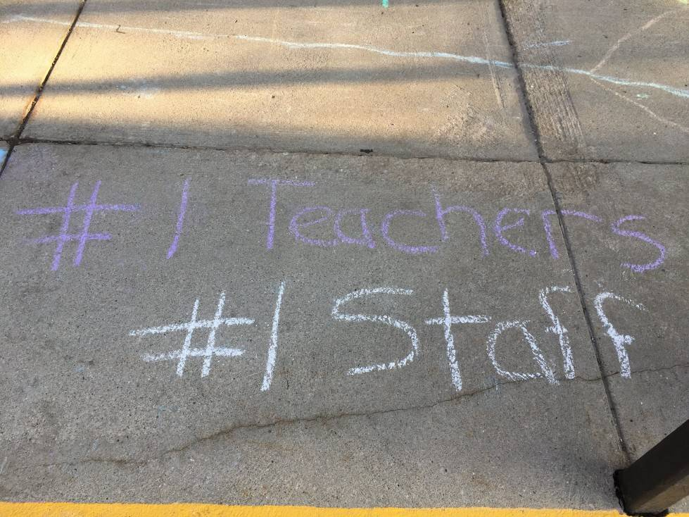 Staff Appreciation-sidewalk chalf designs-#1 Teachers, #1 Staff