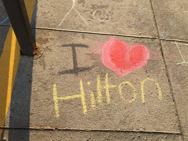 Staff Appreciation-sidewalk chalf designs-I love Hilton