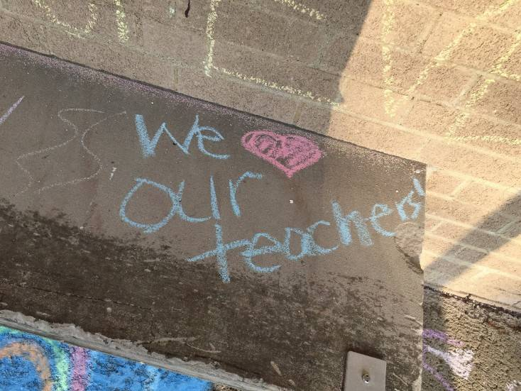 Staff Appreciation-sidewalk chalf designs-We love our teachers