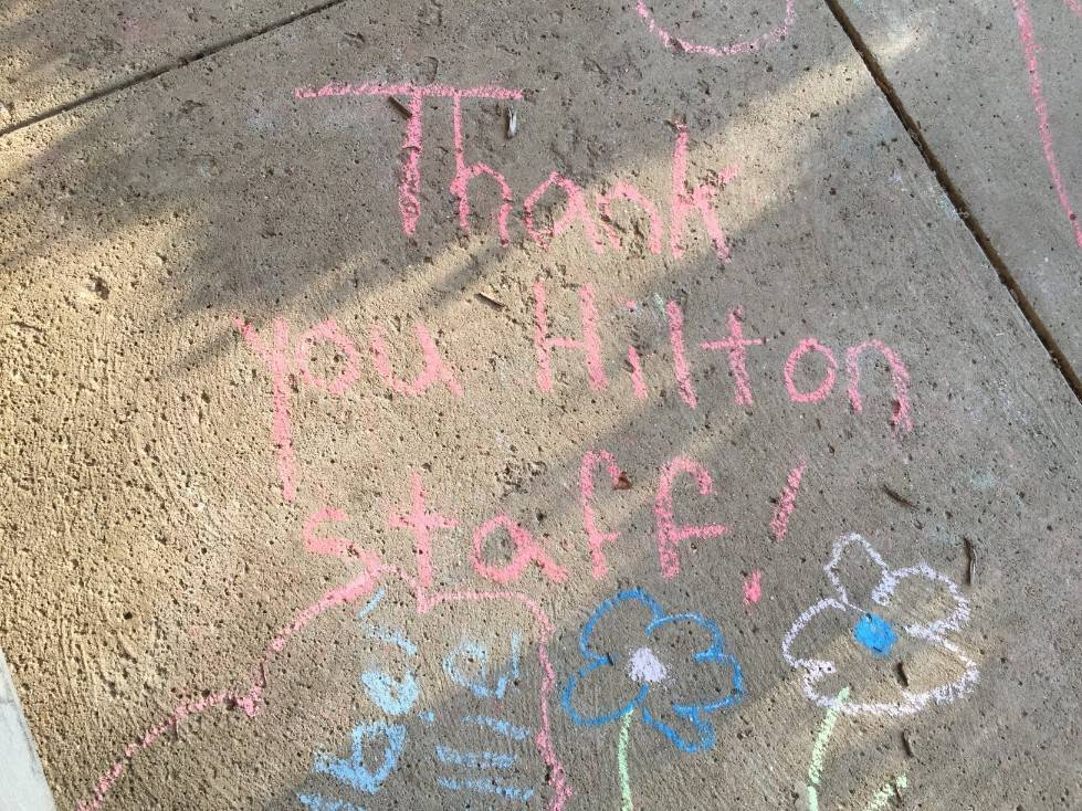 Staff Appreciation-sidewalk chalf designs-Thank you Hilton Staff 2