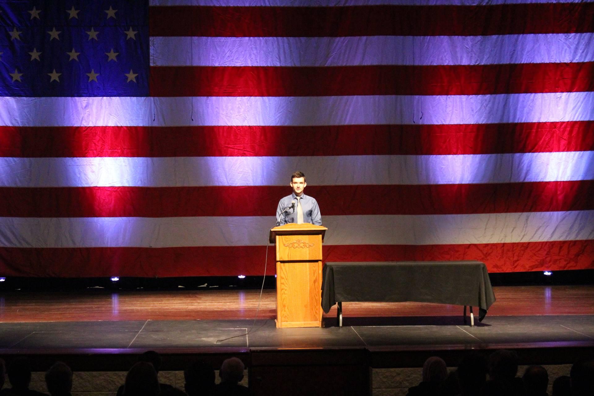 Max Shyrobokov speaks at Naturalization Ceremony
