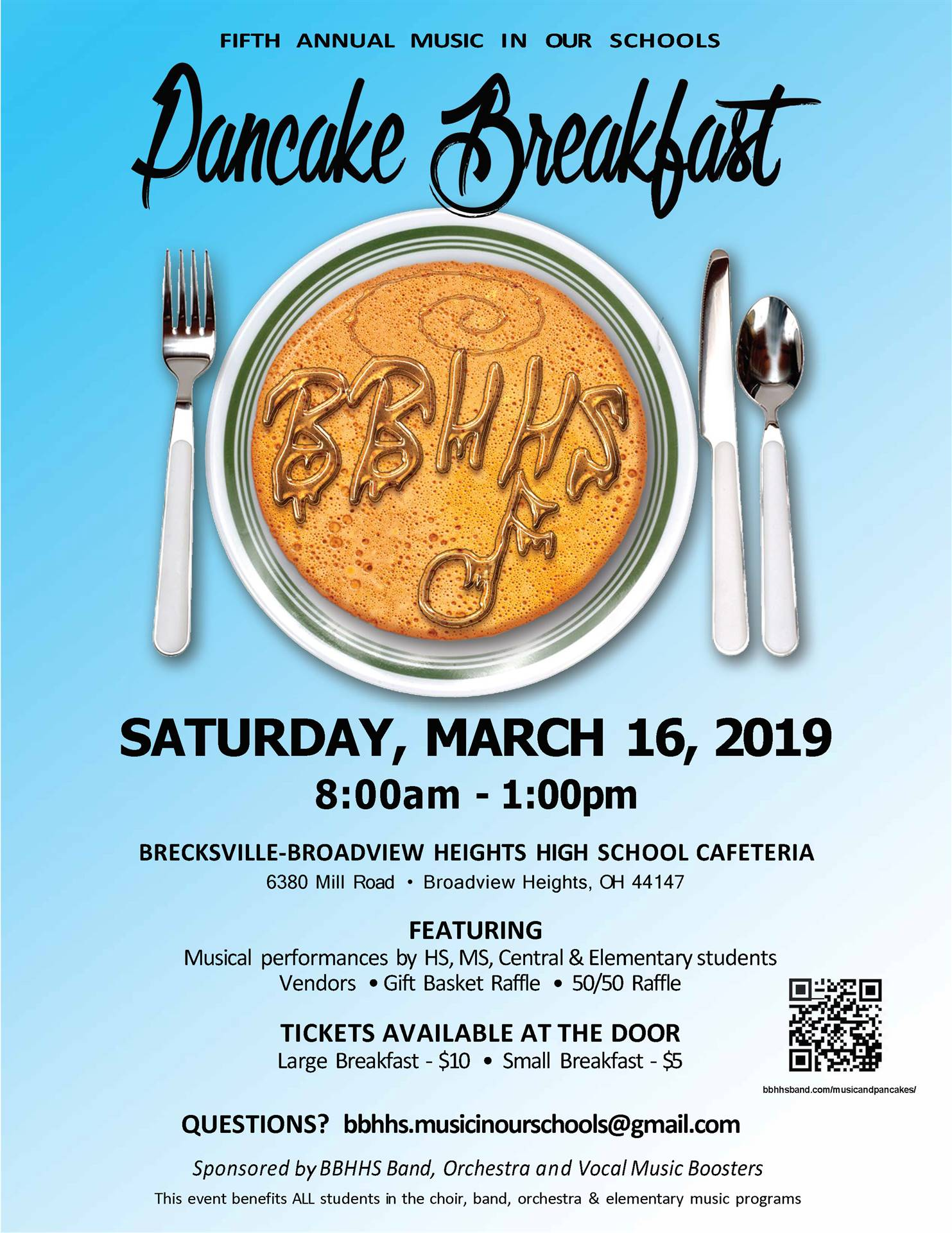 Pancake Breakfast coming on March 16th 8-1