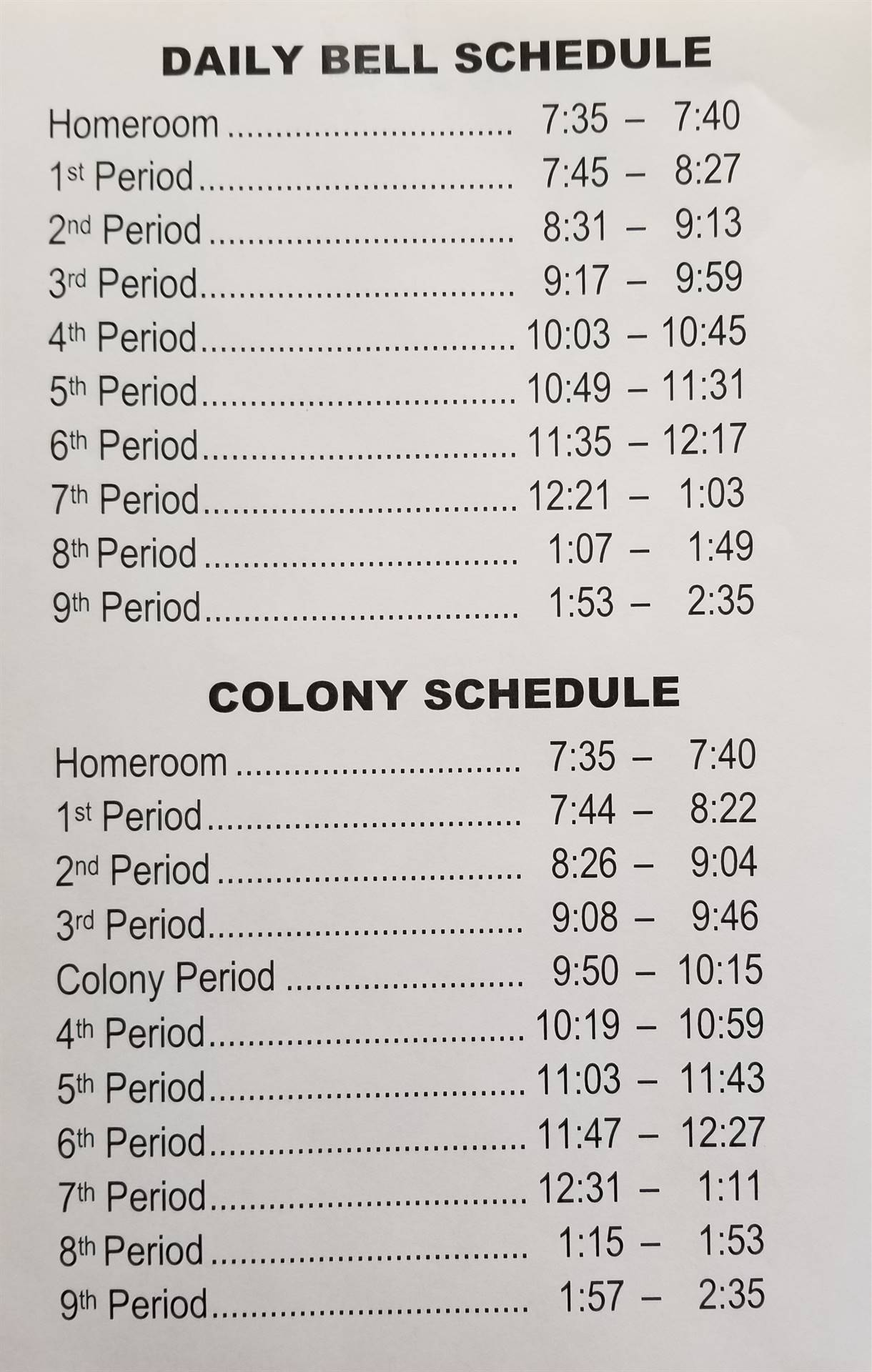 NEW BELL SCHEDULE FOR 2019-2020