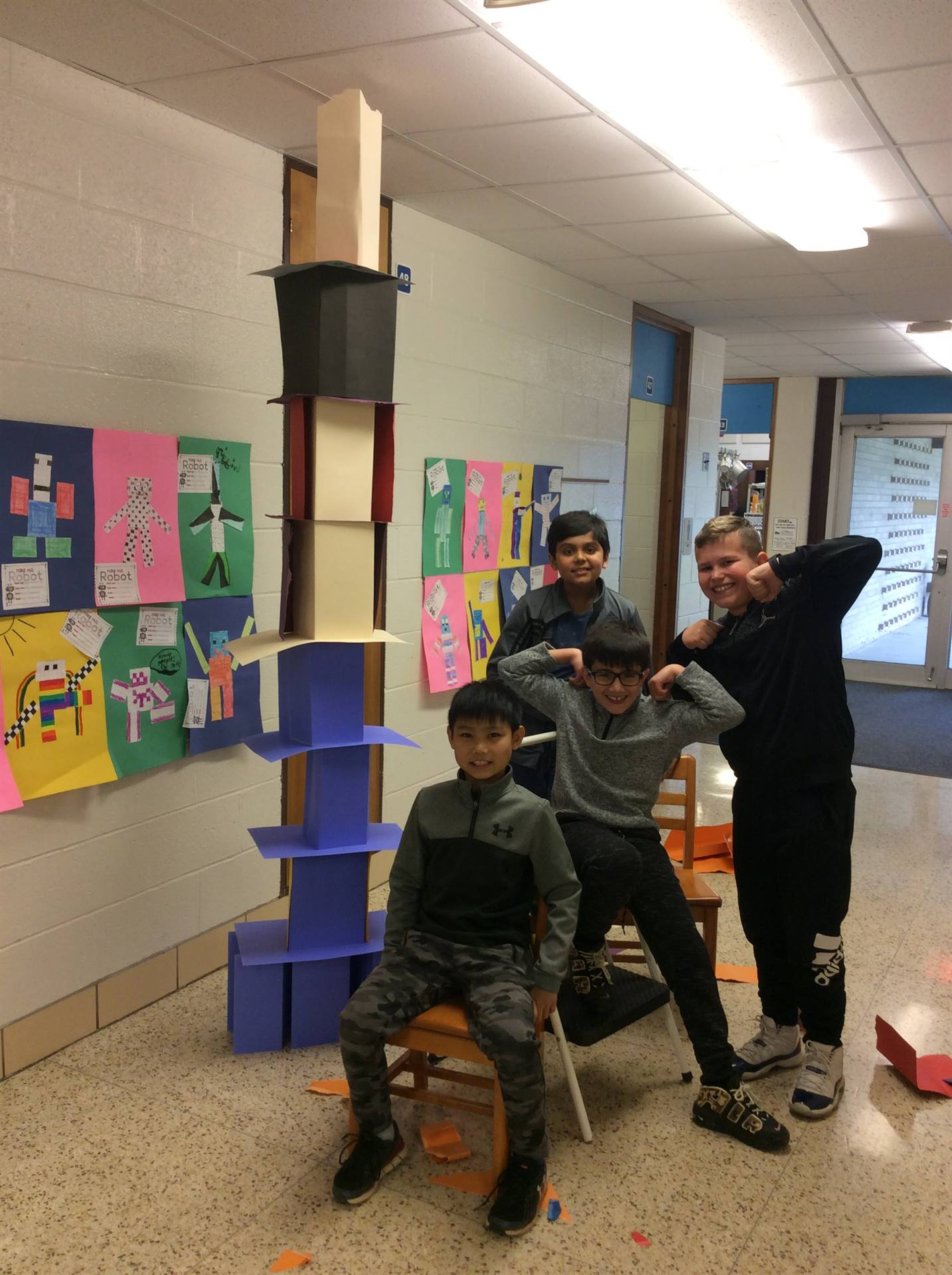"""Winners!  Tallest Paper Tower Challenge! 8' 1/2"""""""