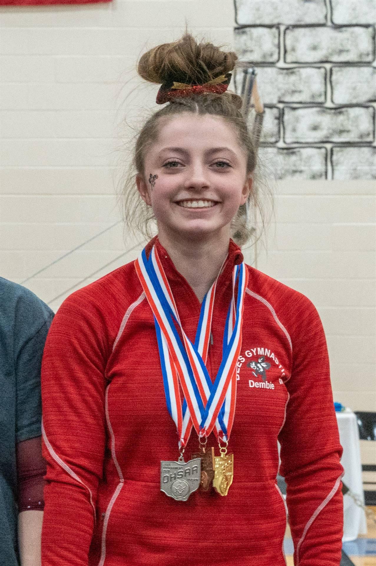 State Champion Katie Dembie gymnastics