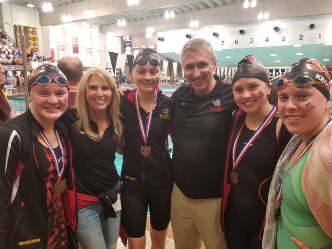 Girls swimming relay team finishes 4th at state meet