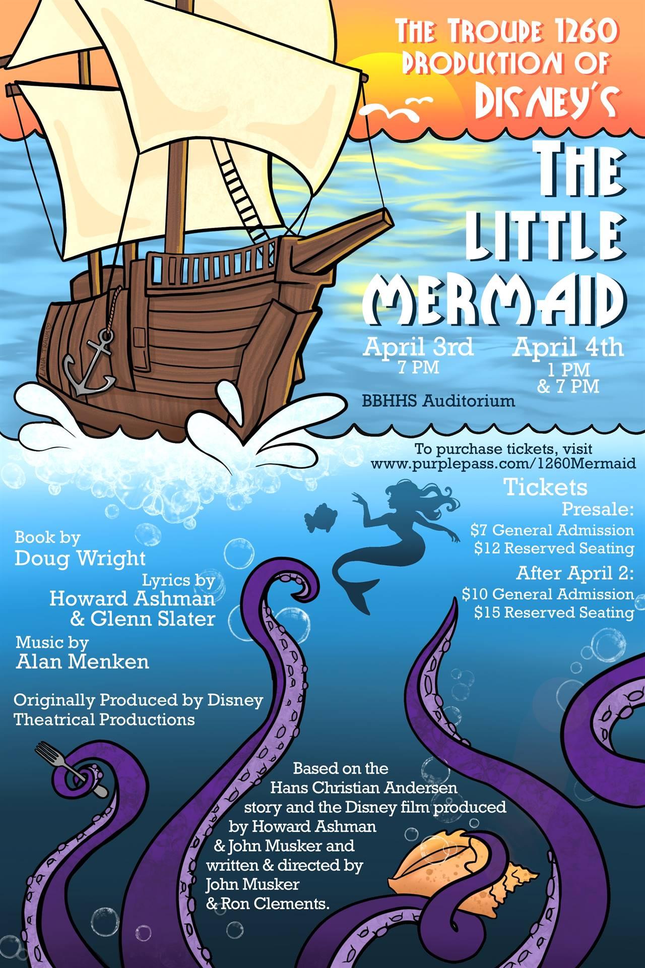 Little Mermaid Musical April 3 and 4 7pm HS Auditorium