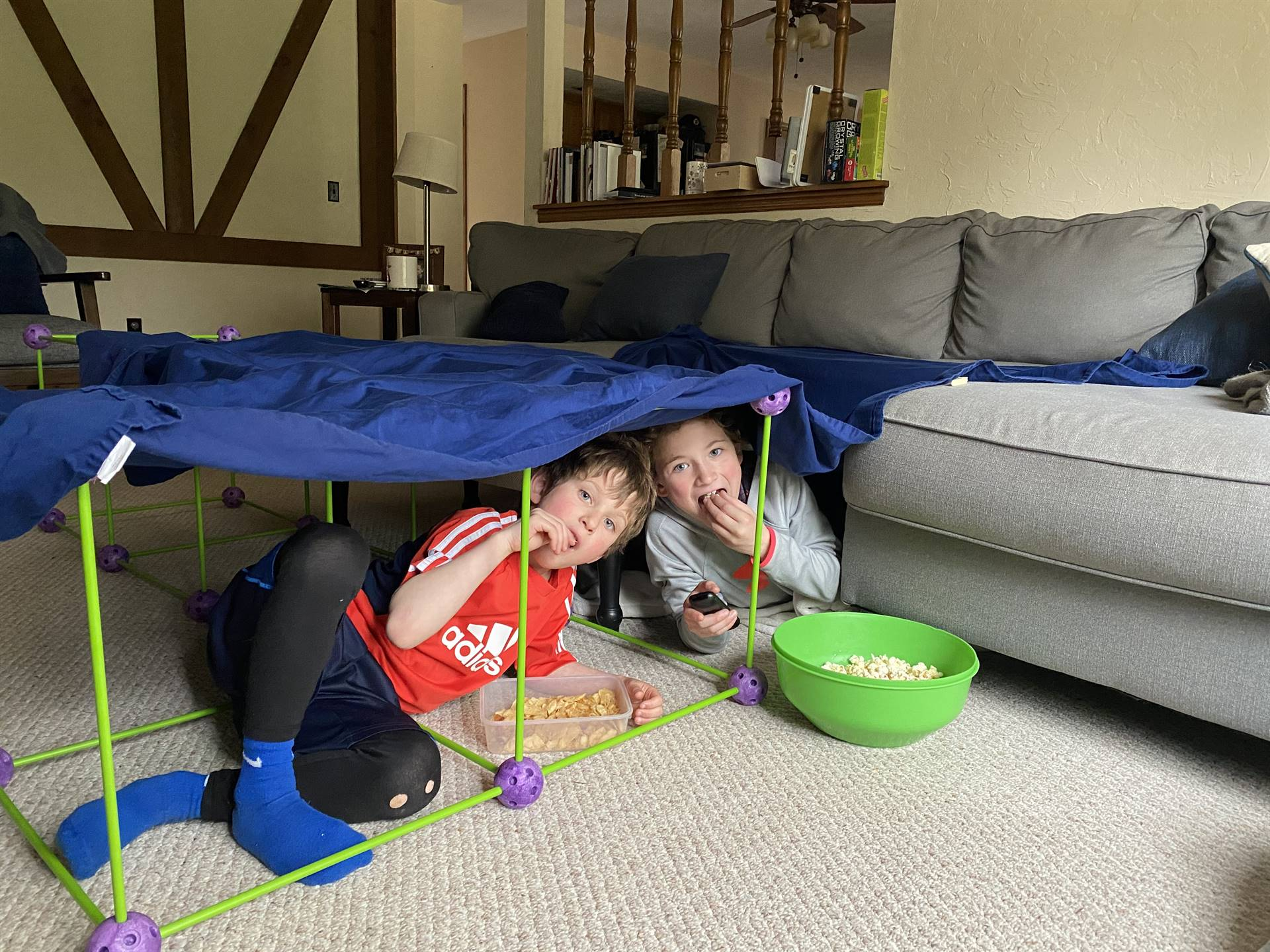 Will and Luke making a fort for movie night - Harry Pottery