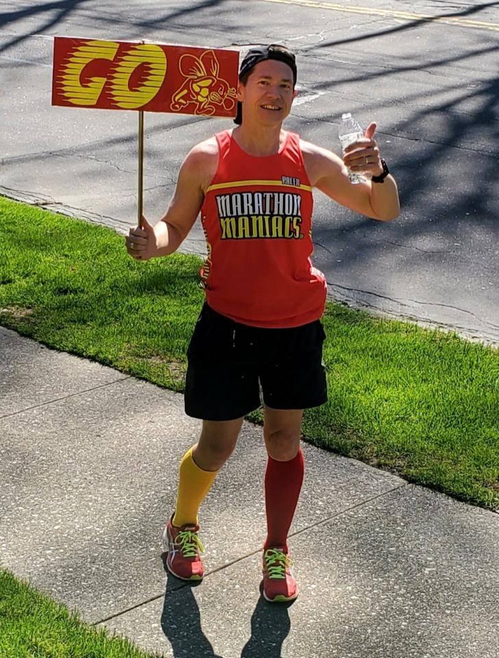 Mr. Brennan runs a marathon through Brecksville and Broadview Hts.