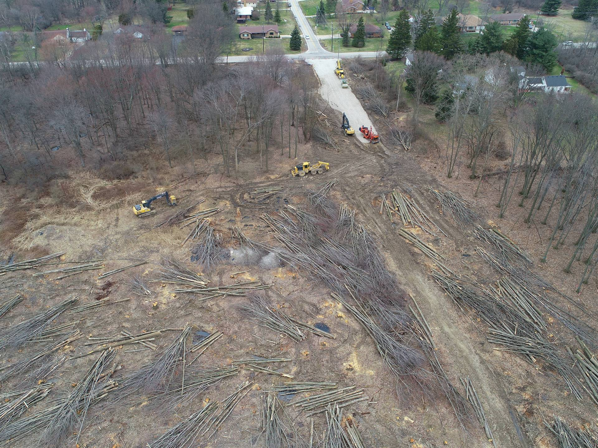 Arial drone photo of the North half of the project